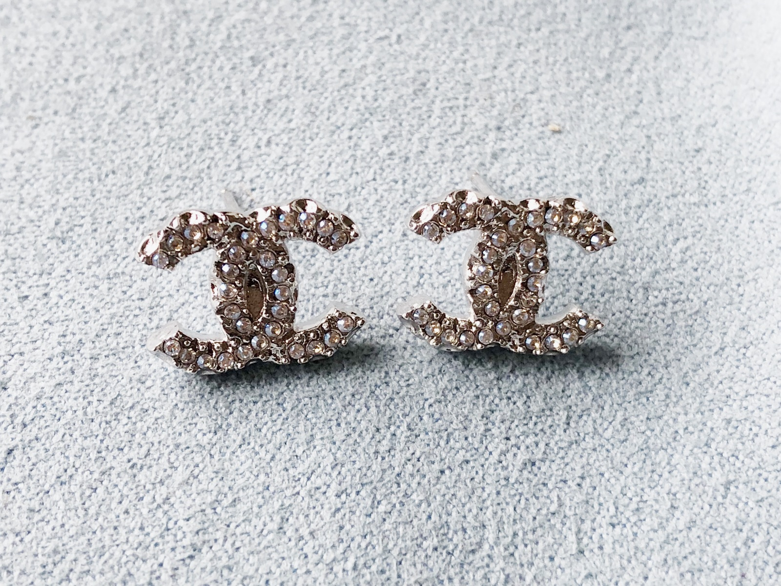 Primary image for SALE***Authentic Chanel Classic CC Logo Crystal Strass Silver Stud Earrings