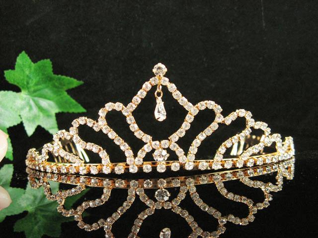 GLAMOUR VINTAGE GOLDEN CROWN WEDDING CRYSTAL TIARA RHINESTONE BRIDAL COMB 816g