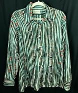 Vintage 1970s Wickfield Mens Poly Disco Long Sleeve Shirt  Sz L - $29.05