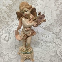 Vintage, Fontanini Cherub with Harp 6in x 3.5in - $14.20