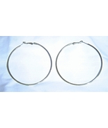 "3"" Large Gold Tone Hoop Earrings Leverback - $4.99"