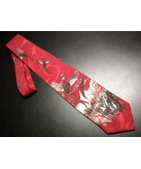 Tie cabralli collection pheasant in flight against bright red 06 thumbtall