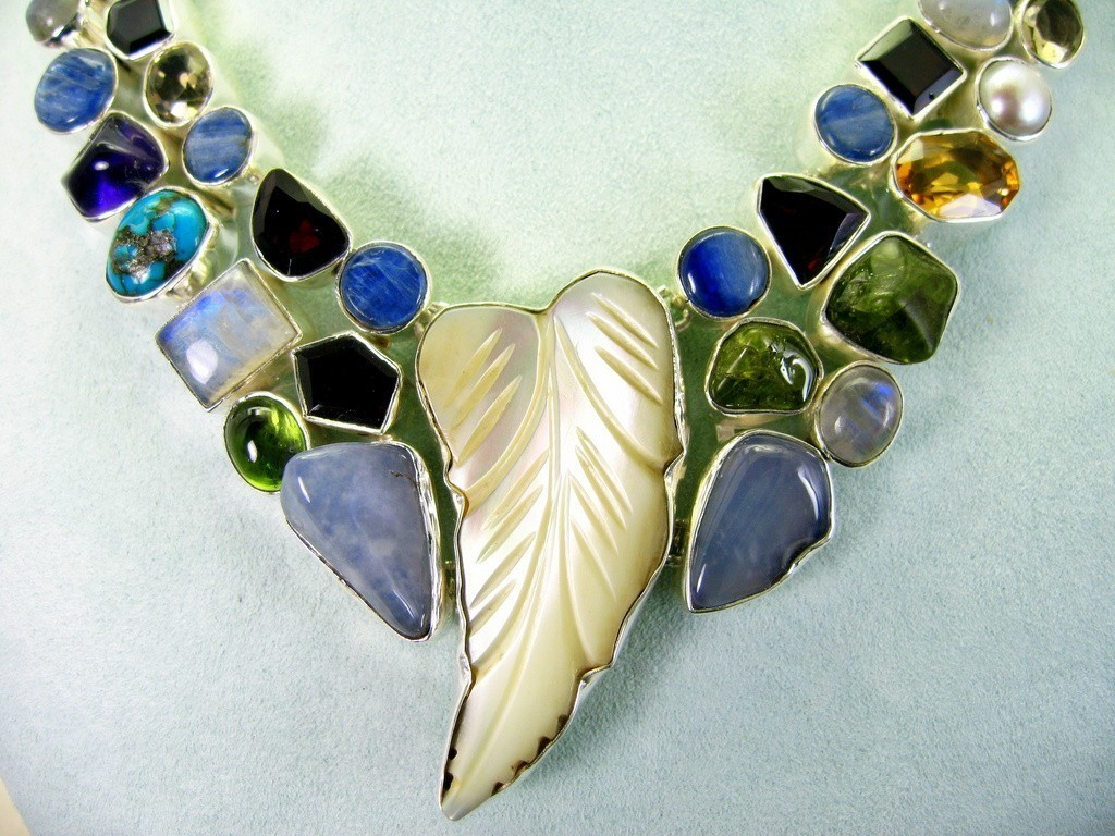 Carved Mother of Pearl + Garnet Kyanite Amethyst + Gems Sterling Silver Necklace