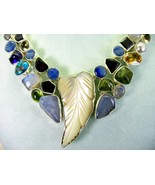 Carved Mother of Pearl + Garnet Kyanite Amethys... - $338.33