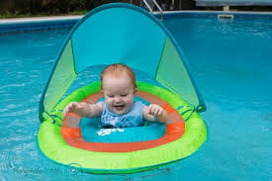 Infant Baby Toddler Kids Children Pool Ring Spring Float Seat W Sun Canopy Shade Floats Rafts