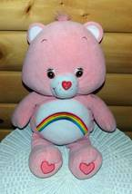 "CARE BEARS Pink Plush BIG 24"" Toy Shop Soft Huggable Rainbow Cheer Bear - $7.95"