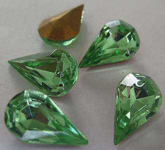 Primary image for 4  Vintage Peridot Glass Facedted Pear Rhinestones