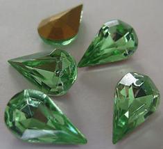 4  Vintage Peridot Glass Facedted Pear Rhinestones - $3.75