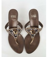Stuart Weitzman beaded sandal pumps bronze thongs womens 7.5M - $93.49