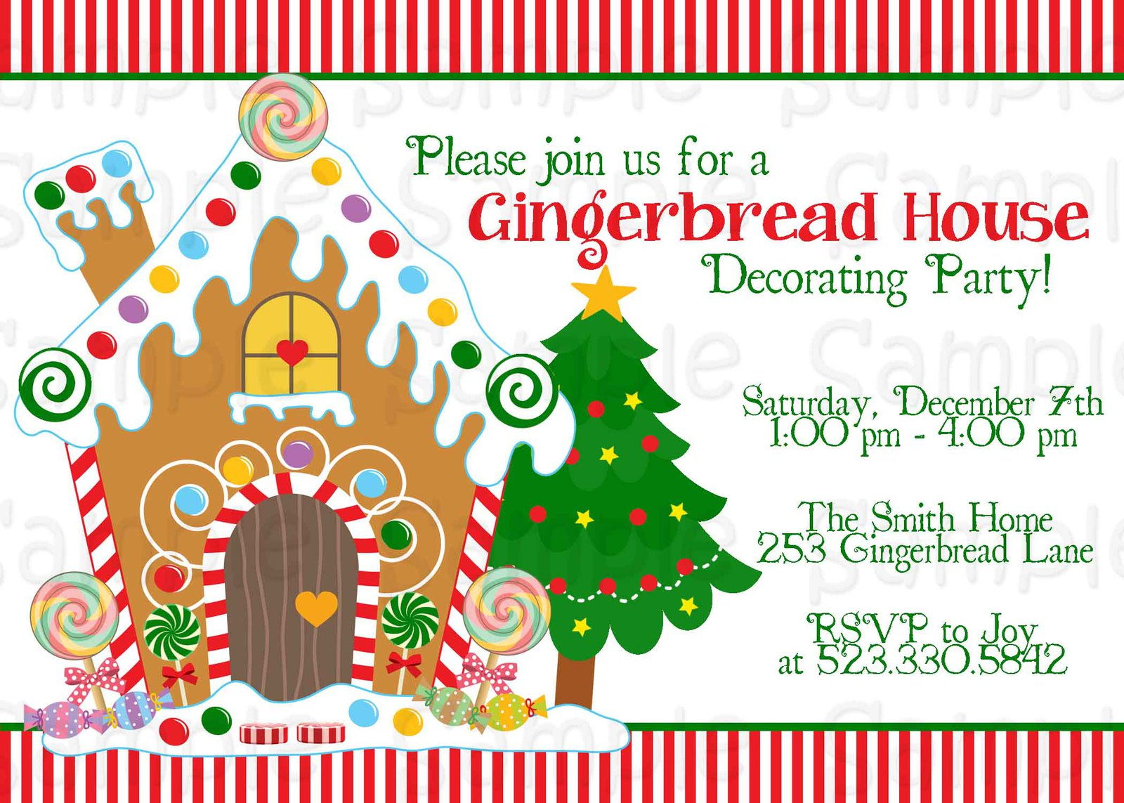 Gingerbread house decorating party invitation christmas Gingerbread house decorating party invitations