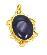 inviting Amethyst Gold Plated Purple Pendant Glass jewelry US - $5.63