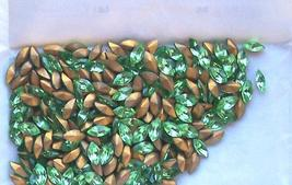 12 Vintage Peridot Glass Colored Navettes - $2.00