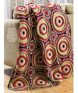 W589 Crochet PATTERN ONLY Ringtoss Circle Afgha... - $7.45