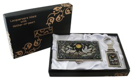mother of pearl crane & sun business card holde... - $26.73
