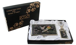 mother of pearl Crane & cloud business card hol... - $26.73