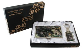 mother of pearl mgpie & tiger business card holder keychain key ring gif... - $26.73