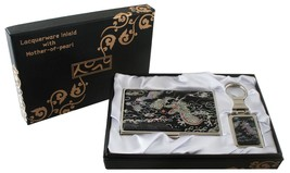 mother of pearl dragon black business card hold... - $26.73