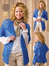 W581 Crochet PATTERN ONLY Draped in Lace Ladies Jacket Pattern - $7.50