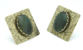 Green Agate Oval Stone Gold Tone Floral Square Clip On Retro Earrings Vintage - $13.86