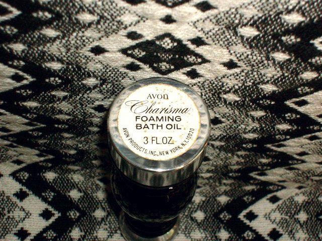 Avon's CHARISMA Foaming Bath Oil with Black Glass Salt Shaker Decanter - NEW!!