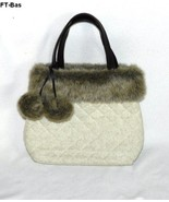 Faux Fur Trimmed Ivory Padded Fabric Purse - $15.99