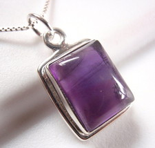 Amethyst Simple Rectangle Necklace 925 Sterling Silver New - $17.58