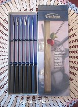 Trudeau Fondue Forks Stainless Colored Dot Black Handles Set Of 6 Box New - $9.75