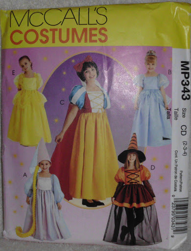 McCalls MP343 Cinderella Snow White Belle Rapunzel Witch Pattern Size 2 3 4