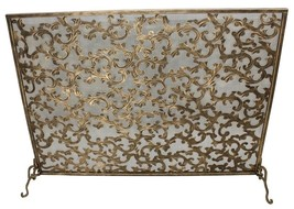 AWESOME  GOLD IRON ACANTHUS LEAF FIRE SCREEN,40.5''W X 30.75''TALL. - $345.51