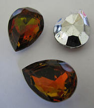 6 Vintage Topaz Vitrail Top Colored Glass Pear Rhinestones - $5.00