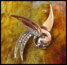 1950s Bird in Flight with Pave Rhinestones set in Sterling Silver Brooch... - $40.00