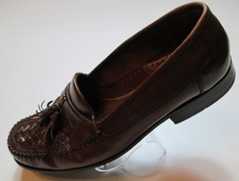 Bass Men Shoes Size 11M Brown Leather Moc-Toe Tassel Basket Weave Loafer... - $34.99