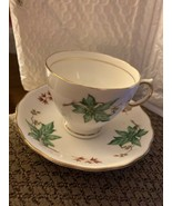 ROYAL VALE D3 BONE CHINA RED GREEN LEAF CUP SAUCER, Numbered - $19.79