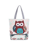 Floral And Owl Printed Canvas Tote Female Casual Beach Bags Large Capaci... - $314,54 MXN