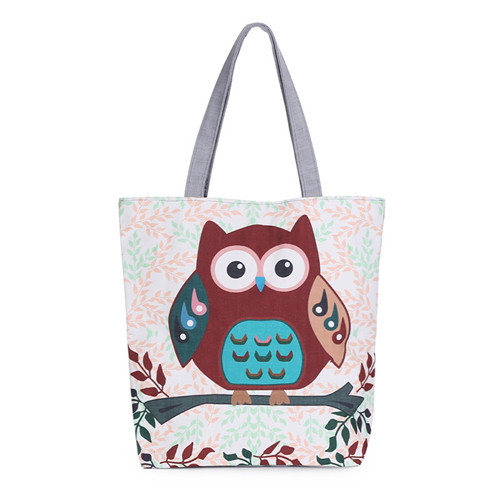 Al and owl printed canvas tote female casual beach bags large capacity women single shopping bag