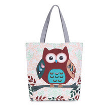 Floral And Owl Printed Canvas Tote Female Casual Beach Bags Large Capaci... - $16.43