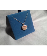 Gold over SS heart locket with rubies/sapphires and 18 in chain - $29.99