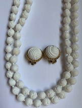 Vintage Celluloid Style White Beaded Necklace Clip Earrings Set Carved Bead - $21.00