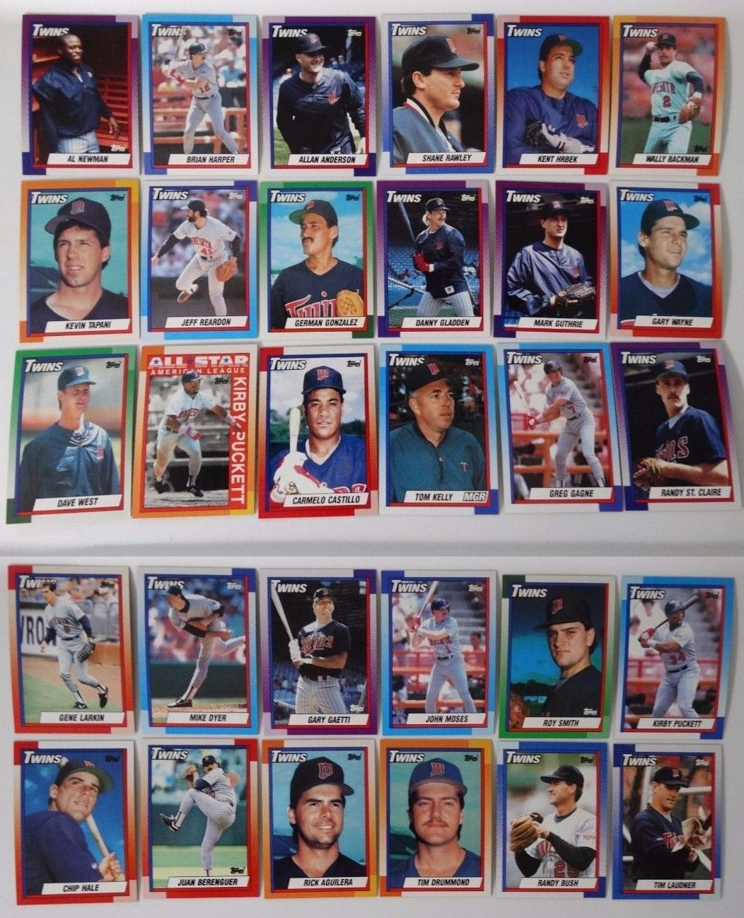 1990 Topps Minnesota Twins Team Set of 30 Baseball Cards