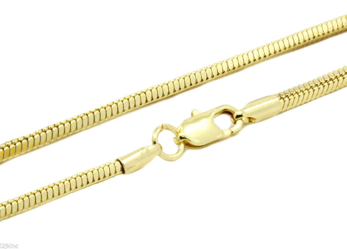 "Mens 24"" Inch 14k Gold Plated Finished 3mm Slim Snake Hip-Hop Chain Necklace"