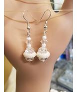 white crystal drop earrings long dangles glass big beaded jewelry bridal... - $5.50