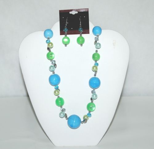 Generic Blue Green Round Beaded Silver Accents Necklace Earring Set