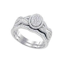 10kt White Gold Round Diamond Oval Cluster Bridal Wedding Ring Set 3/8 Cttw - $587.70