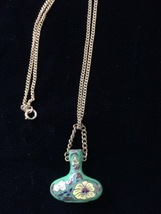Rare Vintage Hand Painted Vase Necklace #55 - $89.99