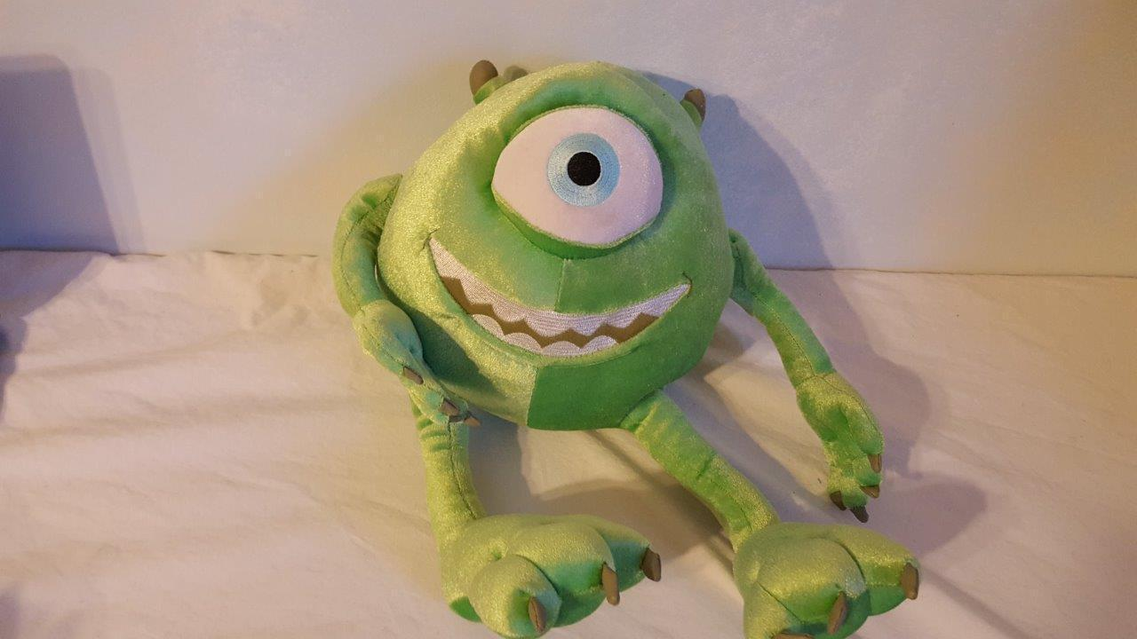 "14"" DISNEY PIXAR MONSTERS INC PLUSH MIKE, 1 EYED CYCLOPS MONSTER, GREEN, CLEAN"