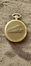 VINTAGE MADE IN USSR POCKET WATCH MOLNIJA WITH LOCOMOTIVE/TRAIN & HOLDER... - $200.00