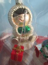 Two Frosty Friends Blown Glass Ornaments Hallmark Crown Reflections image 2