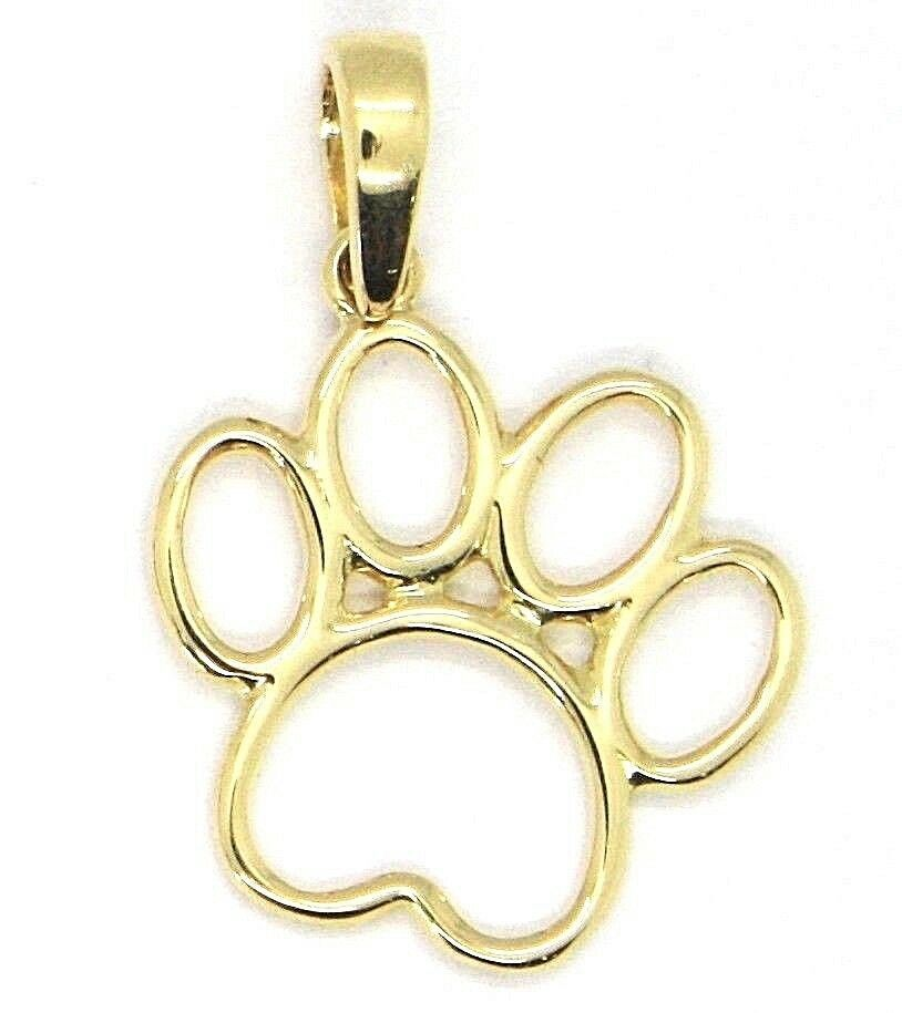 Yellow Gold Pendant 750 18K, Foot Paw Cat, Dog, Perforated
