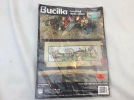 Vintage 1995 Bucilla Four Seasons Cross Stitch Kit House Street Scene Opened Bag - $23.36