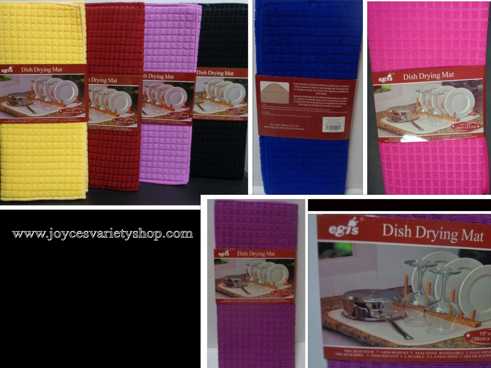 "Primary image for Dish Drying Mat Microfiber Absorbent Washable Fast Drying Many Colors 15"" x 20"""